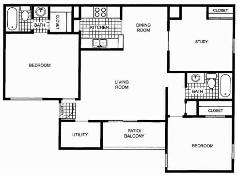 1,131 sq. ft. floor plan