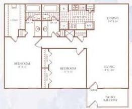 1,066 sq. ft. J floor plan
