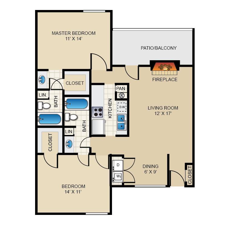 1,032 sq. ft. B2 floor plan