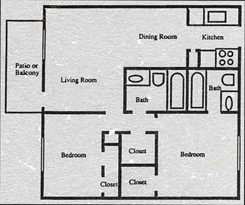 900 sq. ft. B5 floor plan