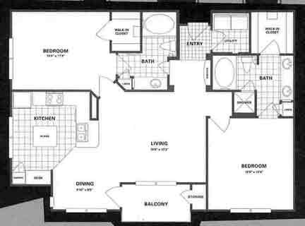 1,159 sq. ft. B4 floor plan