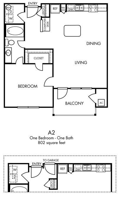 802 sq. ft. Panache -  A2/A2G floor plan