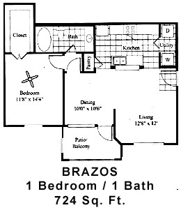724 sq. ft. BRAZOS floor plan