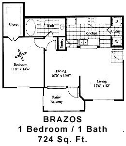 724 sq. ft. BRAZOS floor plan