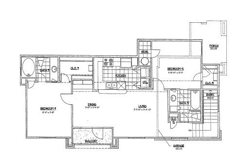 982 sq. ft. F1 floor plan