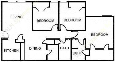 1,162 sq. ft. C1 floor plan