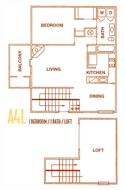 1,050 sq. ft. A4L - A4U floor plan