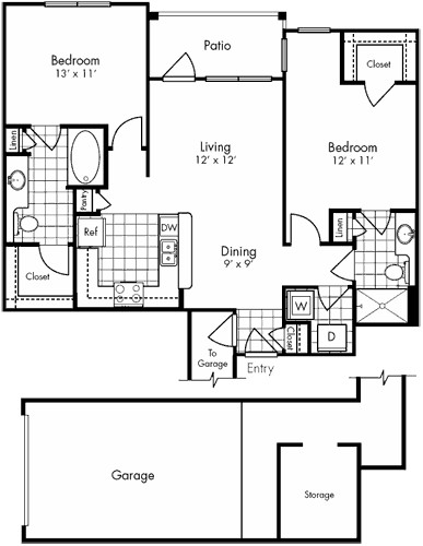 1,037 sq. ft. to 1,076 sq. ft. ALABAMA floor plan