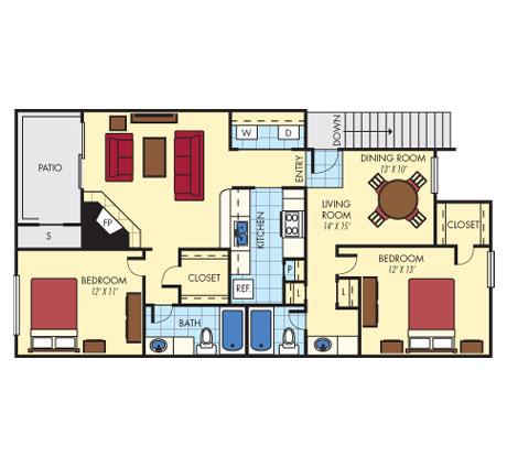 1,127 sq. ft. B2 floor plan