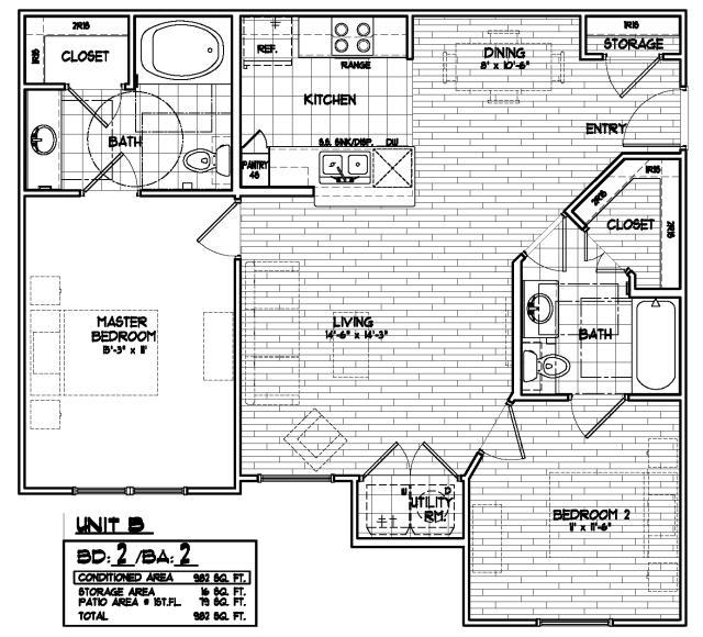 982 sq. ft. 60% floor plan