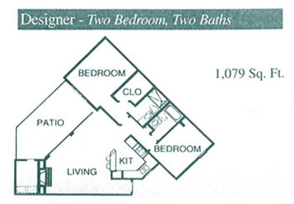 1,079 sq. ft. B3 floor plan