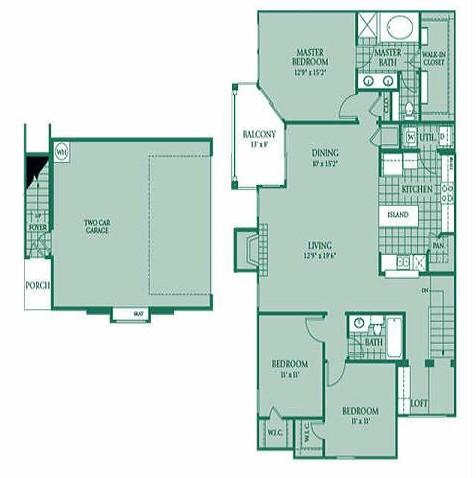 1,597 sq. ft. EMERALD floor plan