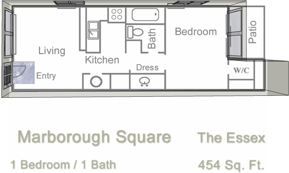 454 sq. ft. floor plan