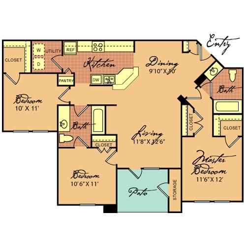 1,162 sq. ft. C1 60 floor plan