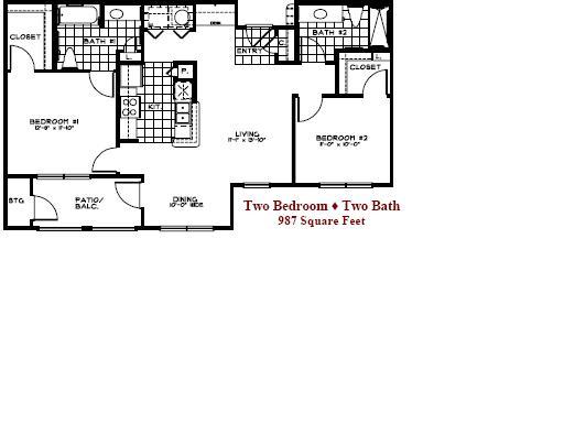 987 sq. ft. 50 floor plan
