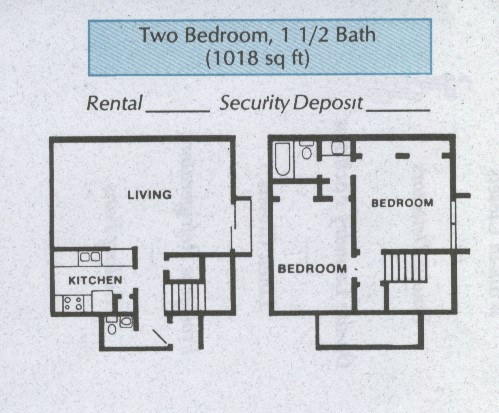 1,018 sq. ft. B4 floor plan
