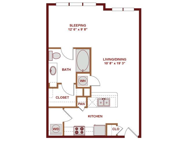 632 sq. ft. E100 floor plan