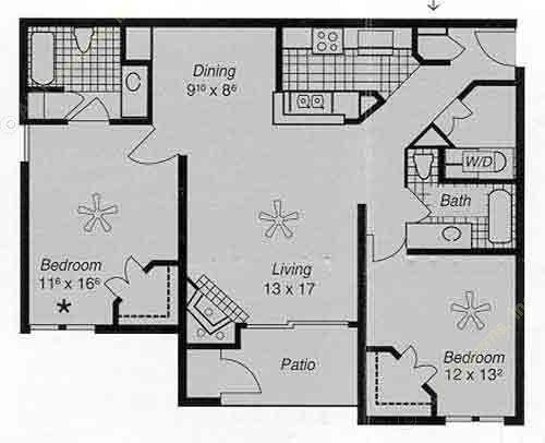 1,072 sq. ft. I H floor plan