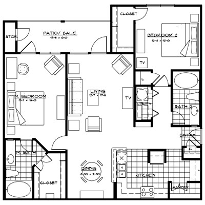 1,279 sq. ft. VENICE floor plan