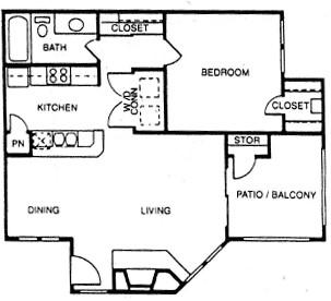 742 sq. ft. A5 floor plan