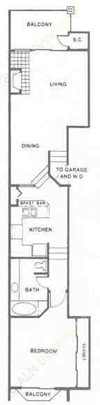 836 sq. ft. A floor plan