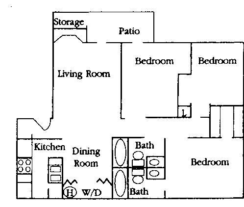 1,152 sq. ft. C1 floor plan