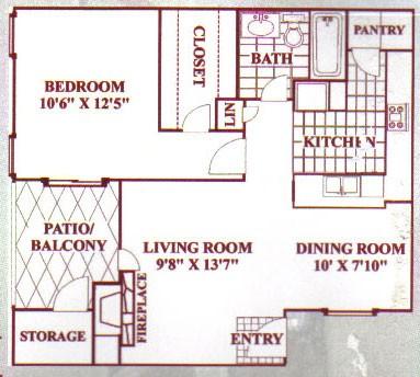 708 sq. ft. C floor plan