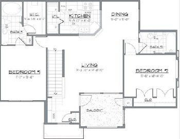 1,007 sq. ft. SEBASTION/60 floor plan