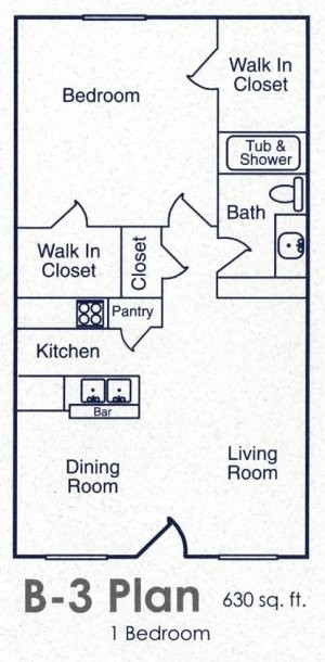 630 sq. ft. B3 floor plan
