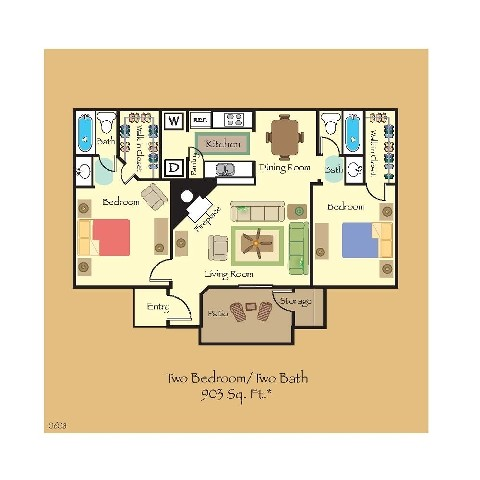 903 sq. ft. B6 floor plan