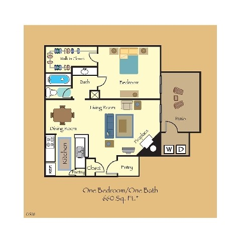 660 sq. ft. A4 floor plan