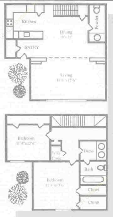 1,210 sq. ft. B3TH floor plan