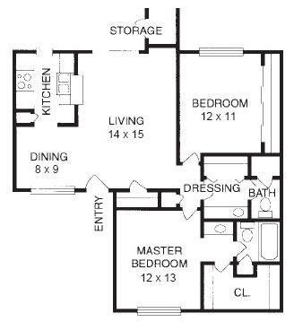 970 sq. ft. B3 floor plan