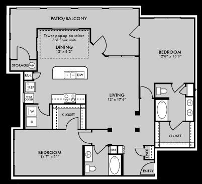 1,338 sq. ft. to 1,351 sq. ft. B5 floor plan