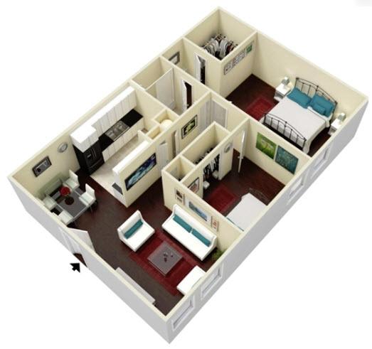 852 sq. ft. Magnolia floor plan