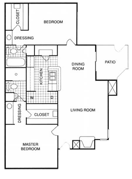 1,032 sq. ft. FMUF floor plan