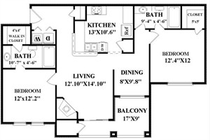 1,058 sq. ft. B1 floor plan