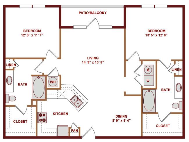 1,211 sq. ft. C600 floor plan