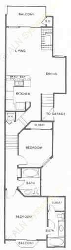 1,060 sq. ft. C floor plan