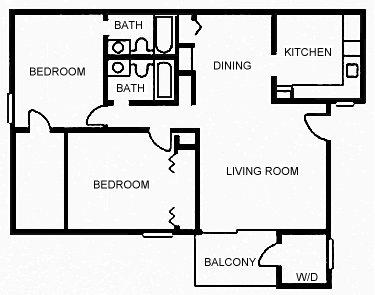 1,036 sq. ft. C floor plan