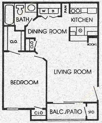 605 sq. ft. B/C floor plan