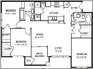 1,302 sq. ft. C1/60% floor plan