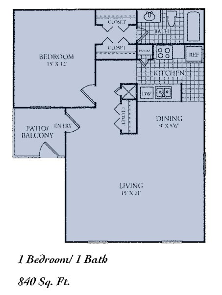 840 sq. ft. D floor plan