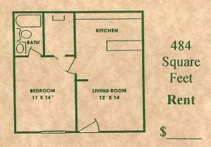484 sq. ft. floor plan