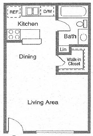 440 sq. ft. CAMBRIDGE floor plan