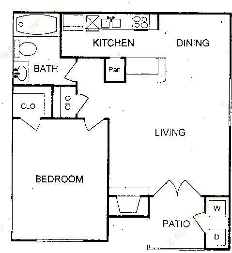 667 sq. ft. floor plan