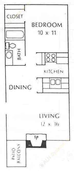 550 sq. ft. A1 floor plan