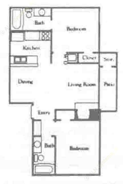 750 sq. ft. B2/60% floor plan