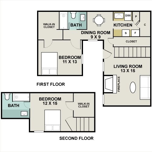 1,186 sq. ft. CYPRESS floor plan