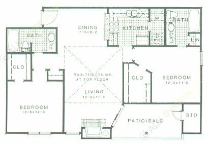 991 sq. ft. B1 floor plan